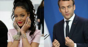 El saco de Rihanna se roba las miradas en su encuentro con Emmanuel Macron
