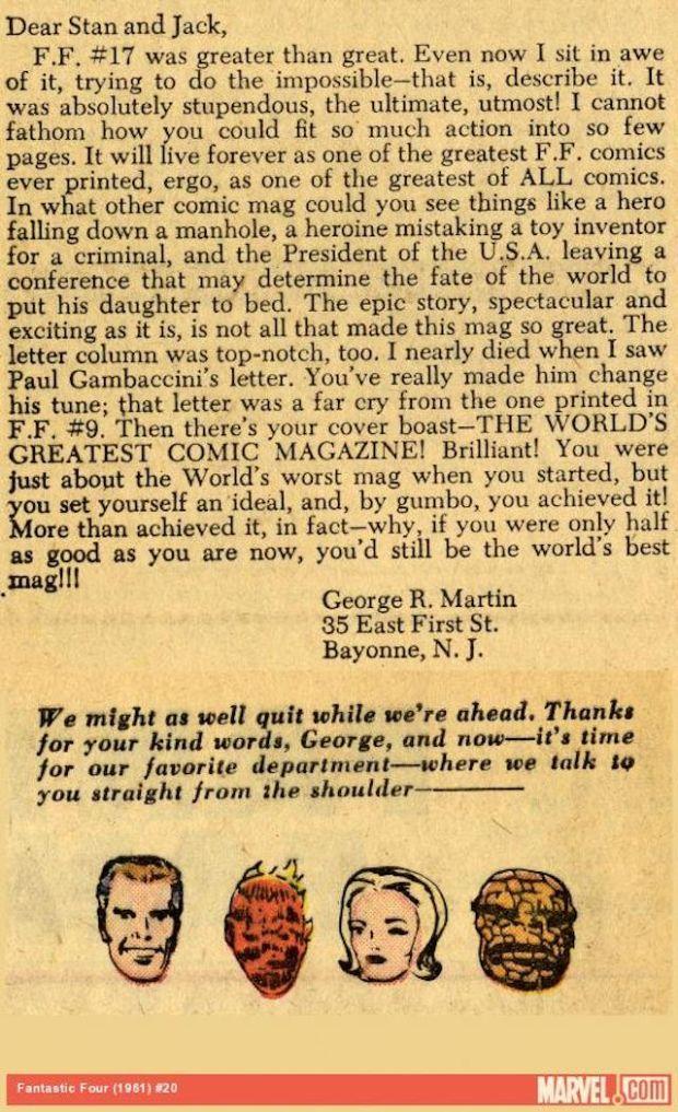 Carta de George R.R. Martin a Marvel Comics