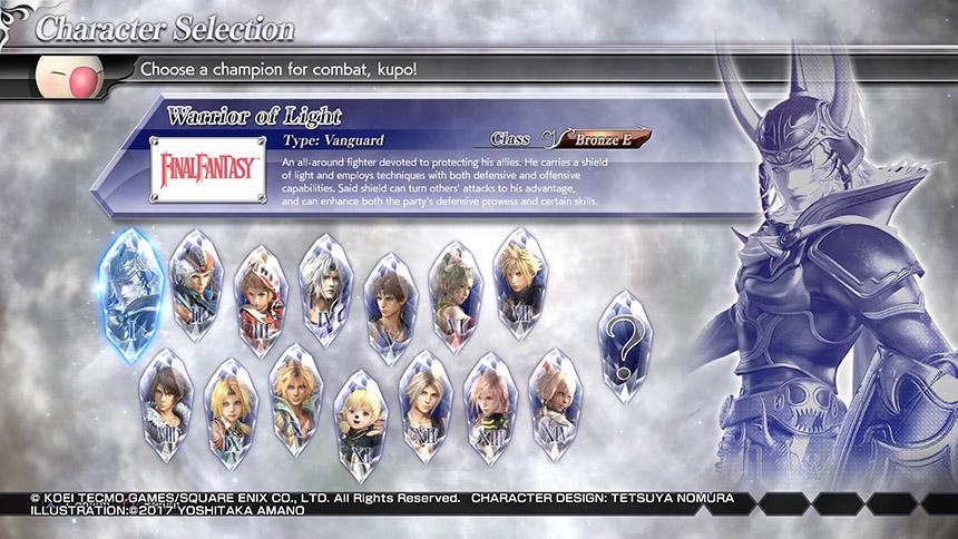 Dissidia Final Fantasy NT Personajes