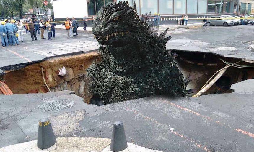 Godzilla es el responsable de los socavones en la CDMX