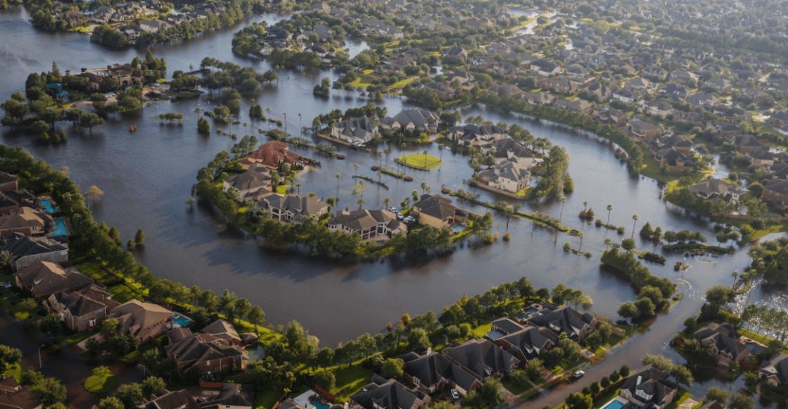 vista aérea de Houston inundado