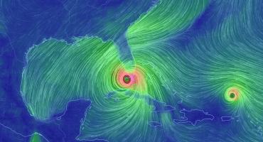 mapa de vientos del huracán Irma