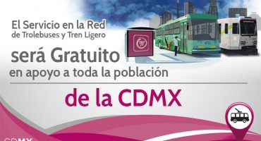 Trolebús y Tren Ligero operarán de forma gratuita en la CDMX