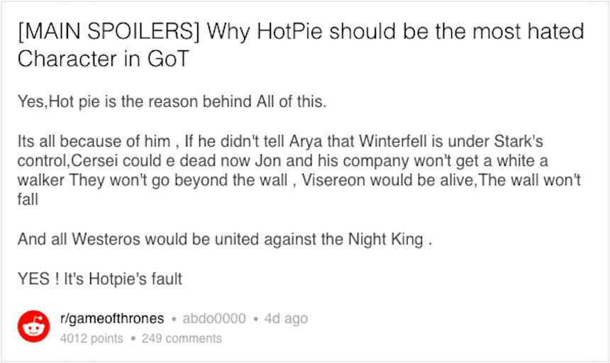 Reddit - Game of Thrones