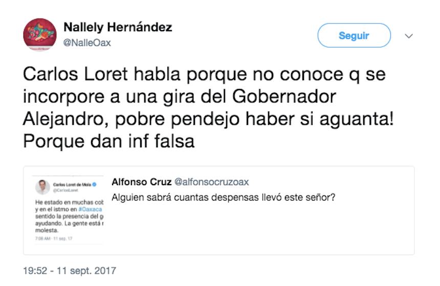 Diputada priista ofende a Carlos Loret de Mola a través de Twitter después de que este criticara la falta de ayuda por parte del gobierno de Oaxaca