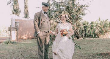 Matrimonio se toma por primera vez fotos de boda después de 60 años