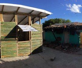 casa temporal de bambú