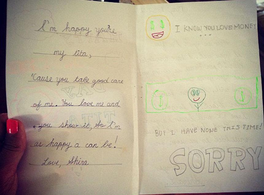 Dibujos de niños - Mamá ama el dinero