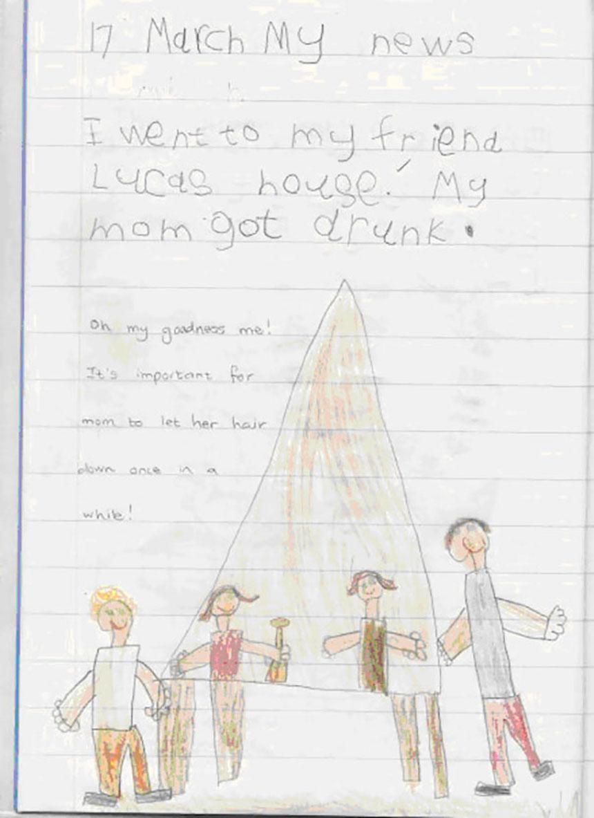 Dibujos de niños - Mamá ebria
