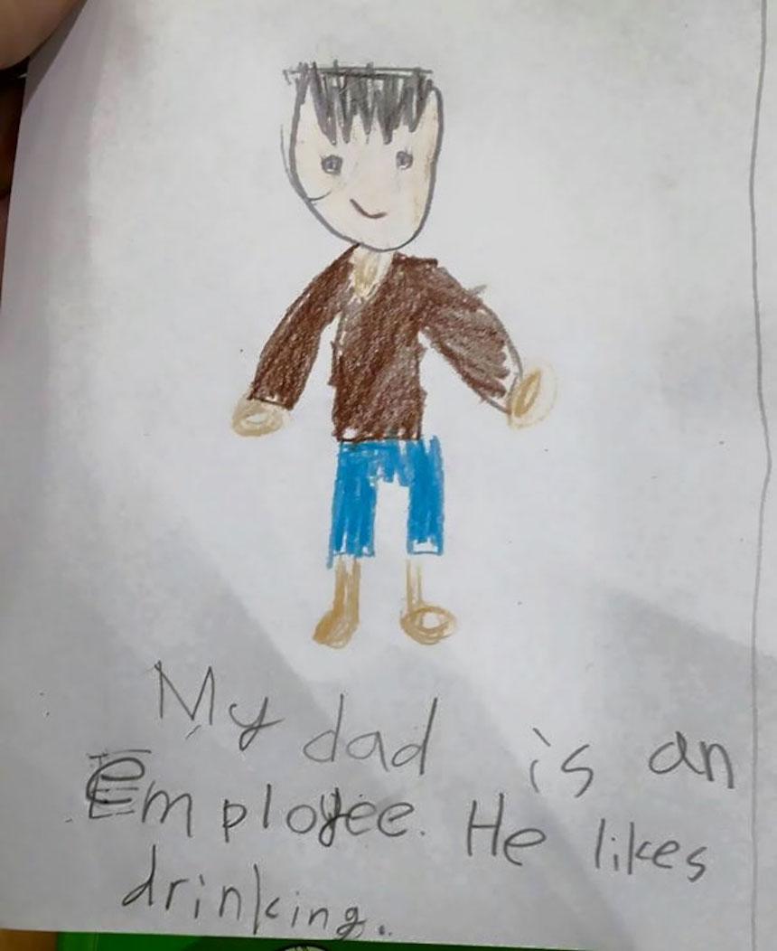 Dibujos de niños - Padre bebedor