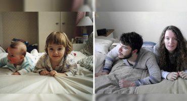 Aww! Estos hermanos recrearon sus fotos de niñez como regalo a sus papás
