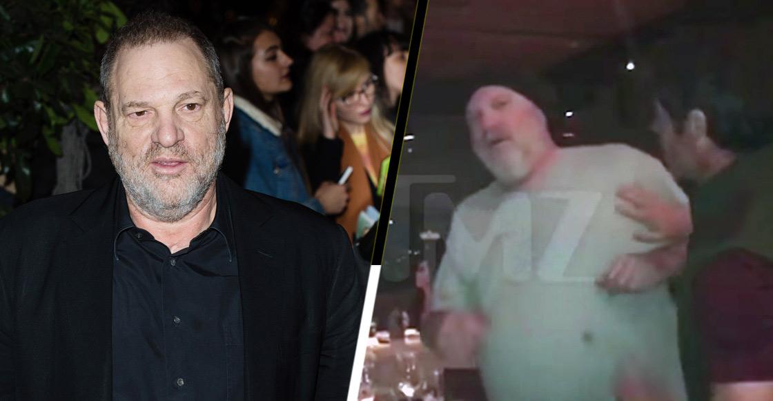 Viralizan video del momento en que atacan a Harvey Weinstein en un restaurante