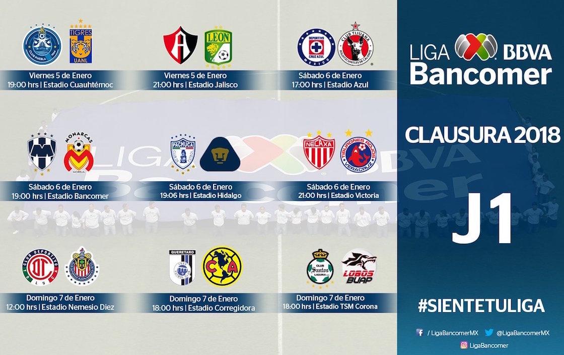 jornada 1 liga mx clausura 2018