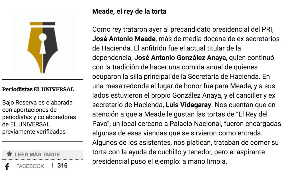 """José Antonio Meade es apodado como el """"Rey de la torta"""""""