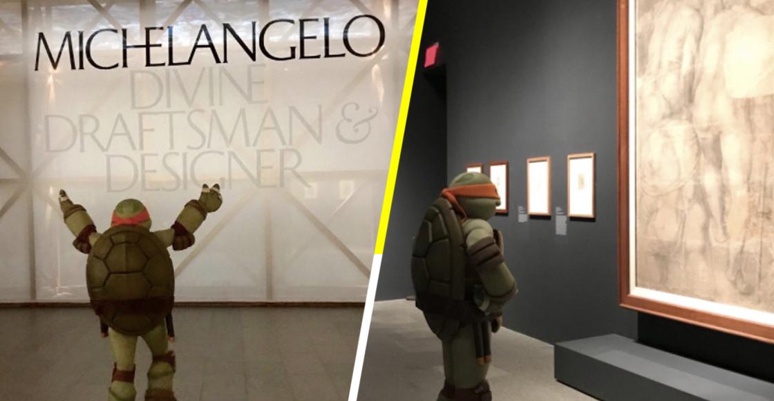 EpicMoment: Michelangelo, de las Tortugas Ninjas, visitó la exposición de su tocayo, en Nueva York