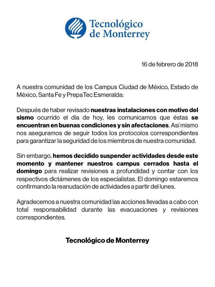 Planteles del IPN suspenden clases por sismo; en la UNAM sólo las ...