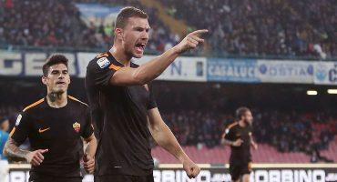 Con un par de golazos de Dzeko, la Roma goleó al líder y lo sacó de la cima