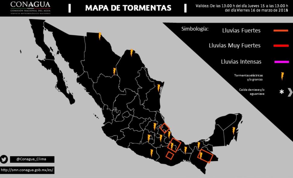 mapa de tormentas para México del SMN