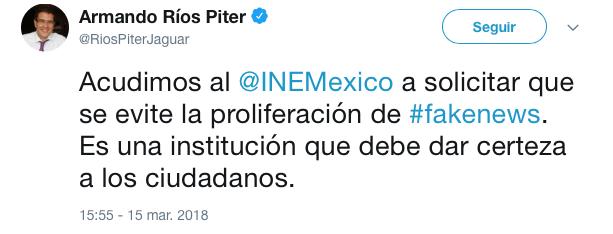 Tuit en el que Ríos Piter refiere al INE y a las fake news