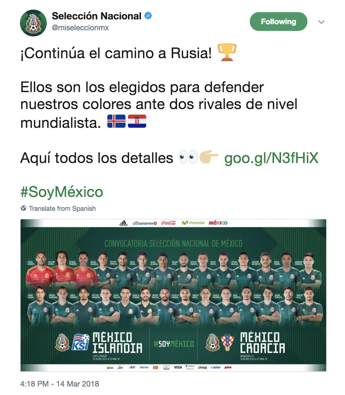 Convocatoria de la Selección Nacional Mexicana para los partidos contra Islandia y Croacia