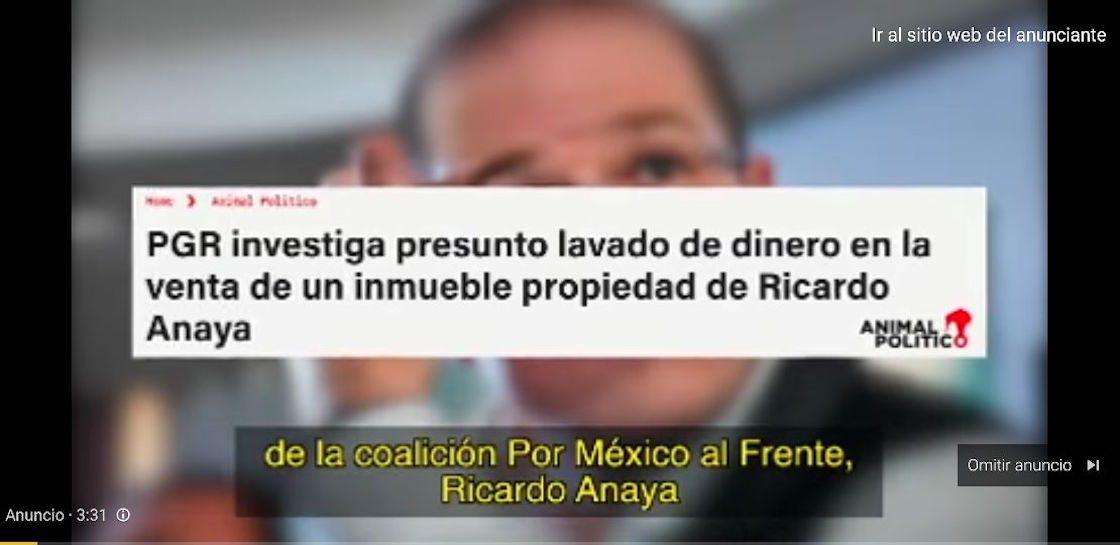 Usuarios de redes sociales denuncian aparición de anuncios en contra de Ricardo Anaya en Youtube