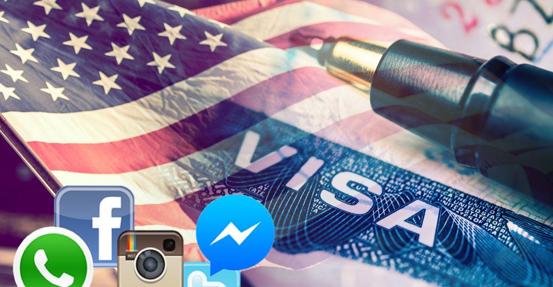 bandera e.u. más logos redes sociales
