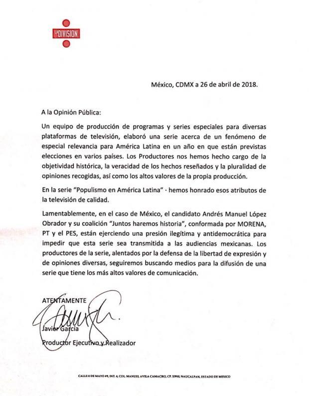 Carta de 'La División'