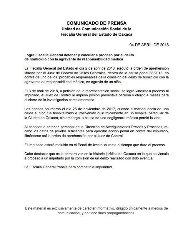 Comunicado Fiscalía Oaxaca