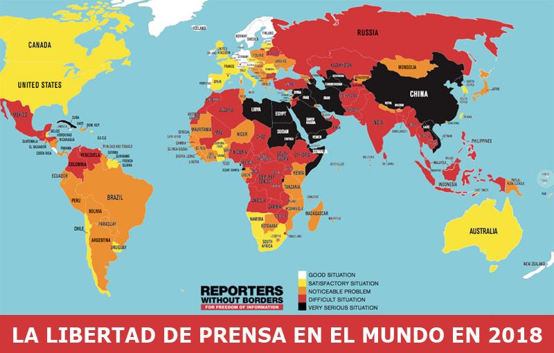 Libertad de prensa en el mundo según RSF