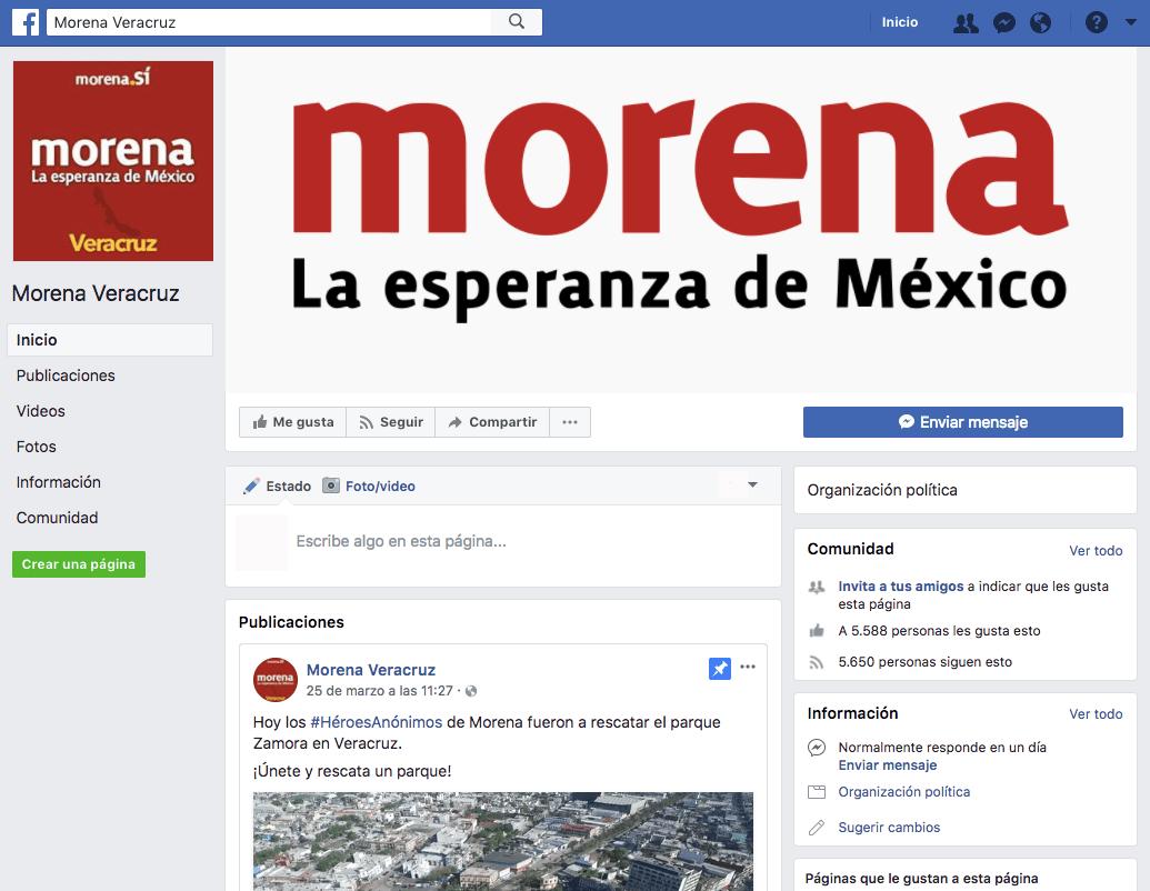 Difunden información falsa en una página falsa de Morena en Facebook