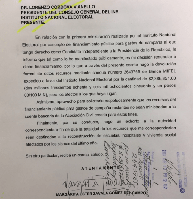 Oficio INE Margarita Zavala