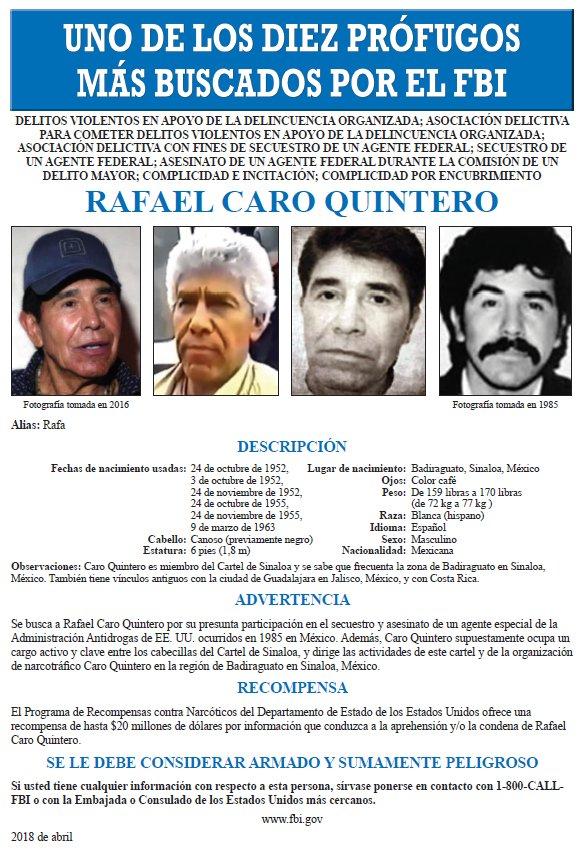 Rafael Caro Quintero recompensa
