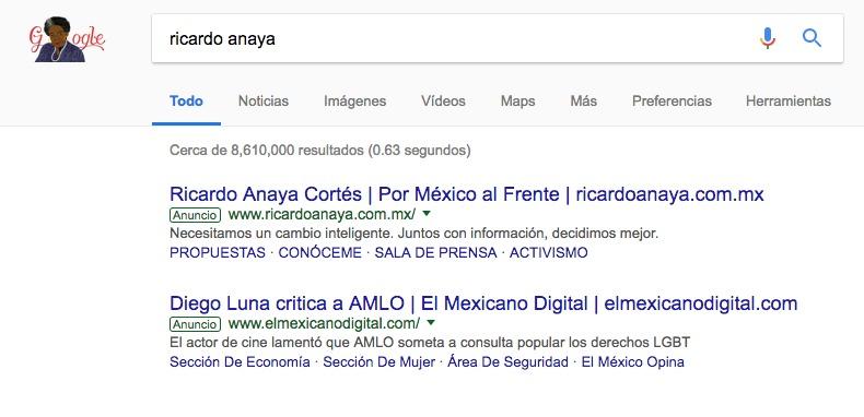 Ricardo Anaya recupera nombre en Google