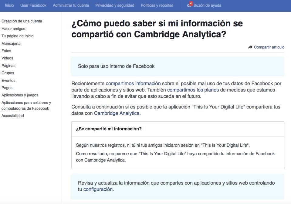 Facebook notificará cómo son usados tus datos