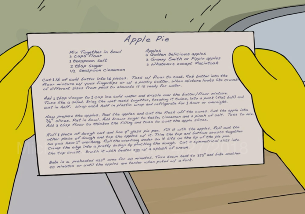 ¿Cómo preparar el pie de manzana de Mona y Homero Simpson?