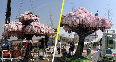 ¡Qué bonito! LEGO creó el árbol de cerezos más grande del mundo