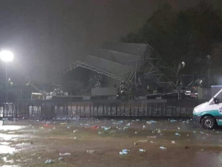 ¡Por poquito! Un rayo cae en un concierto de música electrónica en Argentina y derriba el escenario