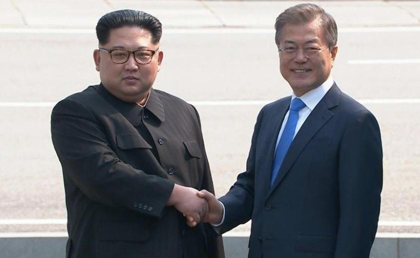 Kim Jong-un y Moon Jae-In Corea