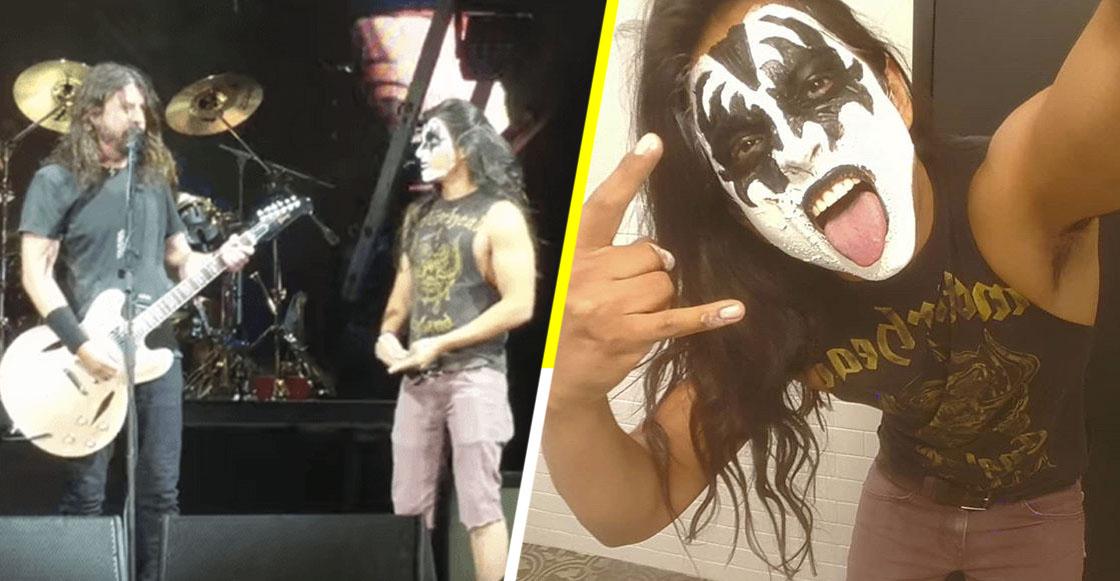 Dave Grohl invitó a un fan con maquillaje de Kiss al escenario... ¡y se adueñó por completo de él!