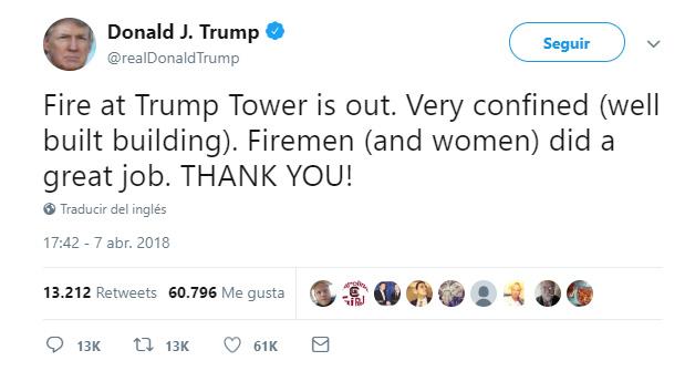 Incendio en la TIncendio en la Torre Trump, en Nueva York, deja un muertoorre Trump, en Nueva York, deja un muerto