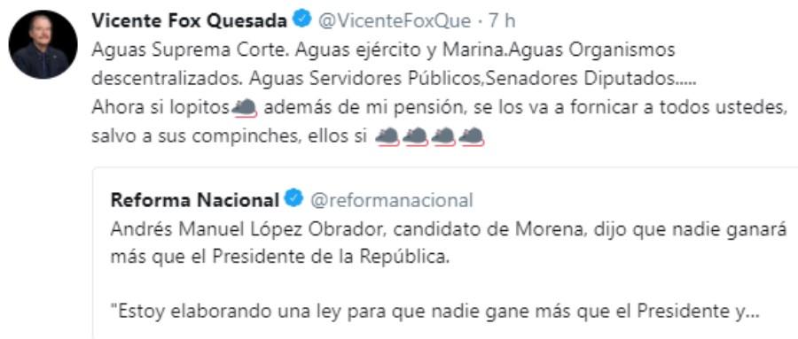 Mensaje en Twitter de Vicente Fox