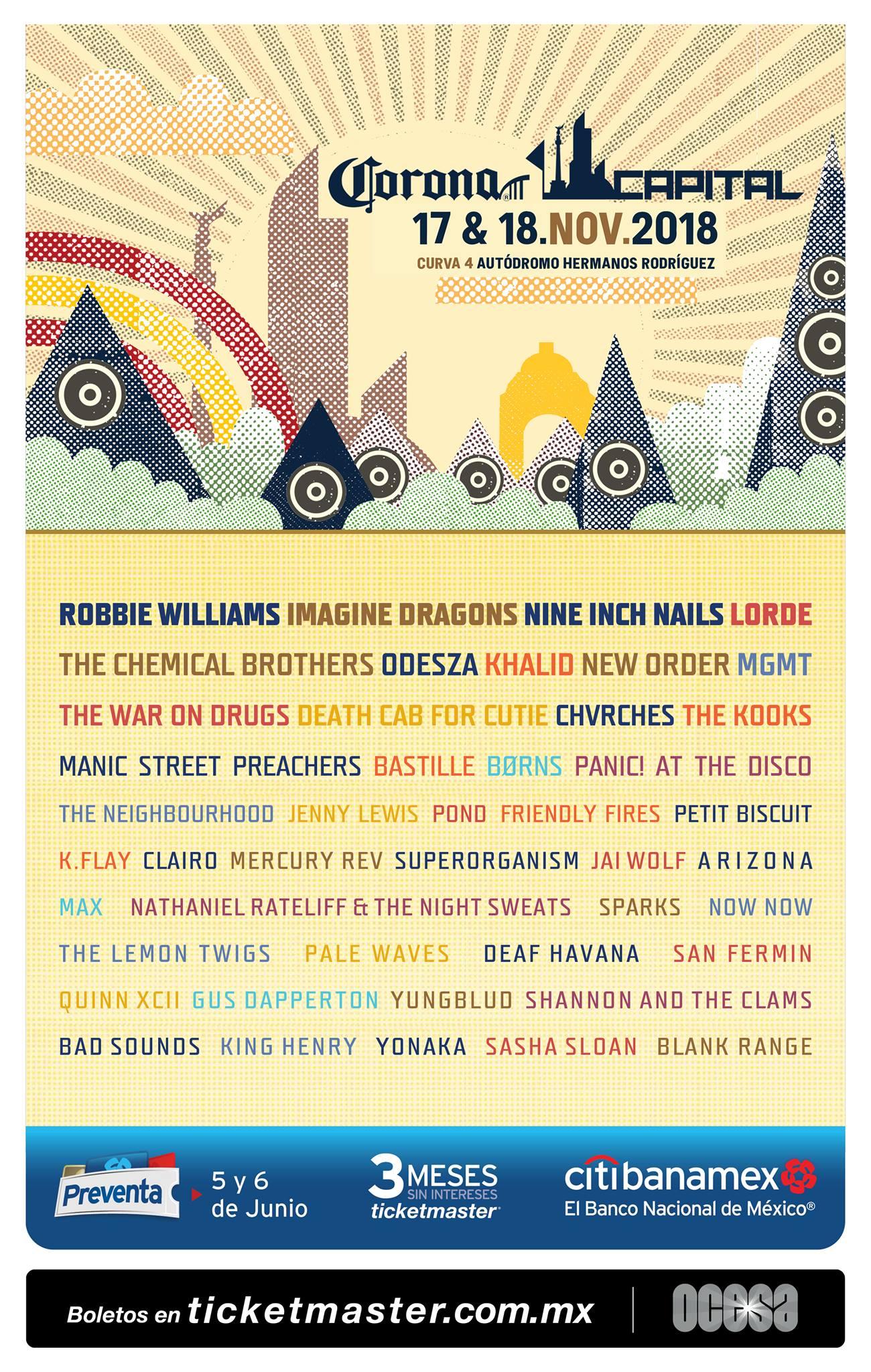 ¡NIN, Robbie Williams, New Order, The Chemical Brothers y Lorde en el Corona Capital 2018!