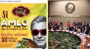 INE rechaza eliminar mensajes que ofrecen productos si AMLO gana la presidencia