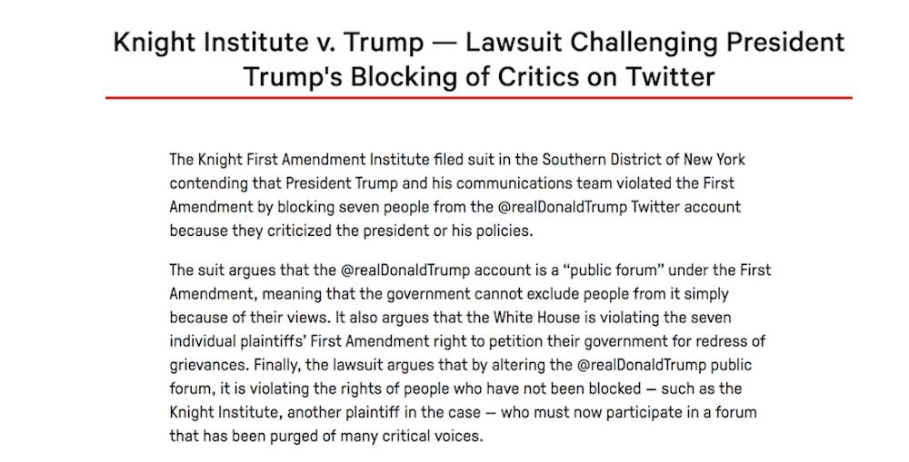 Comunicado del Instituto Knight First Amendment contra los bloqueos de Trump en Twitter