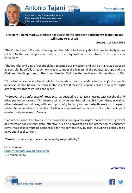 Comunicado presidente Parlamento Europeo