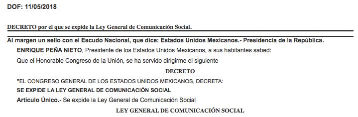 Decreto Ley de Comunicación Social DOF