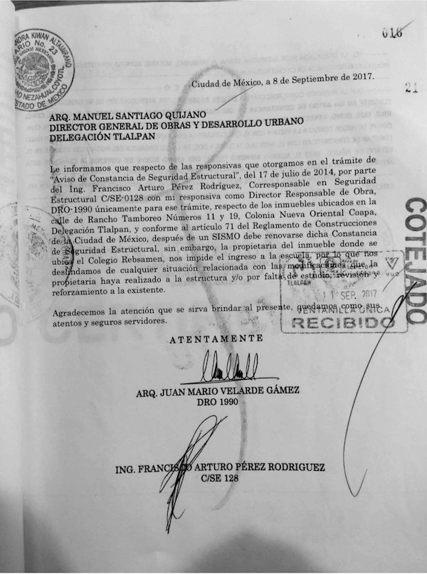 Documento falso DRO REBSAMEN