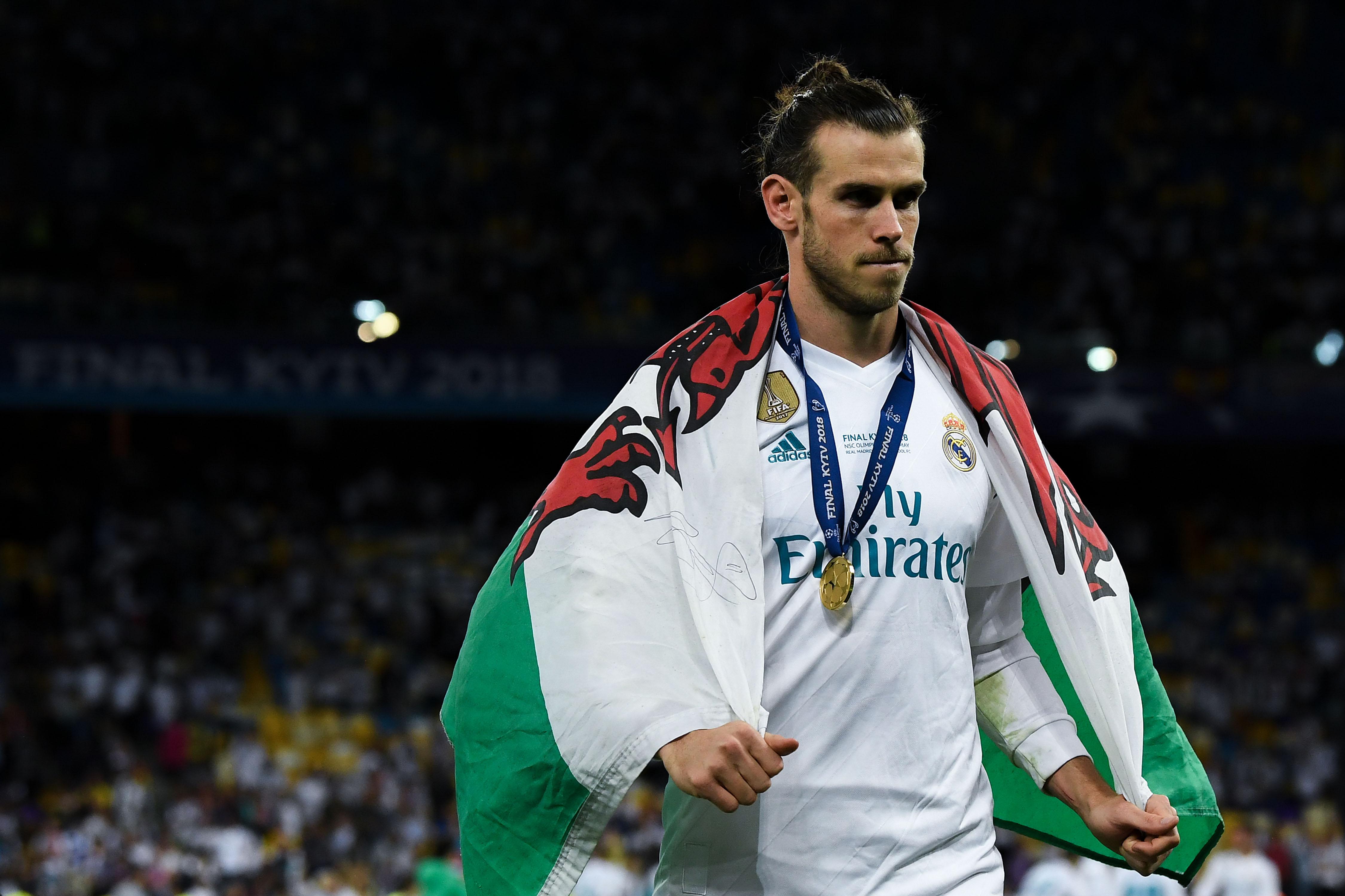 Gareth Bale en festejo después de la Champions League. Manchester United busca su fichaje.