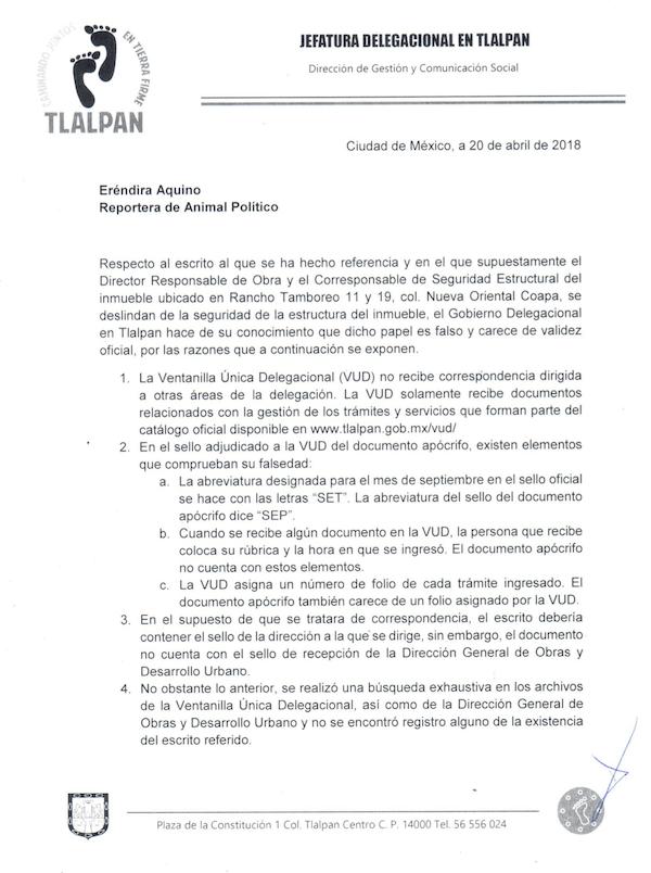 Respuesta Delegación Tlalpan Colegio Enrique Rébsamen