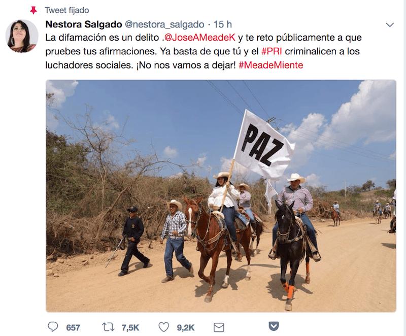 Tuit de Nestora Salgado respuesta a José Antonio Meade declaraciones del segundo debate presidencial
